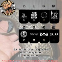 2A Series Custom Laser Engraved Aluminum Cerakoted Glock Magazine Base Plates