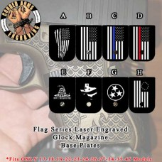 Flag Series Custom Laser Engraved Aluminum Cerakoted Glock Magazine Base Plates