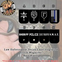 Law Enforcement Series Custom Laser Engraved Aluminum Cerakoted Glock Magazine Base Plates