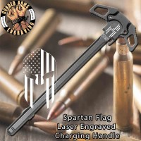 Spartan Flag Engraved Charging Handle