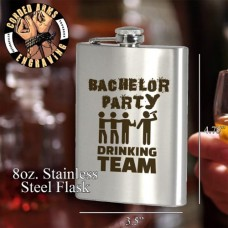 Bachelor Party Drinking Team Custom Laser Engraved 8oz Stainless Steel Hip Flask