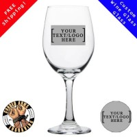 Custom handmade Large 20 oz. Etched Glass Wine Glass Sand Blasted