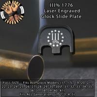 III% 3 Percent Laser Engraved Glock Slide Plate