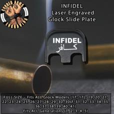 Infidel Laser Engraved Glock Slide Plate