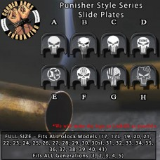 Punisher Series Custom Laser Engraved Aluminum Glock SlidePlates