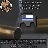 Thin Blue Line Laser Engraved Glock Slide Plate
