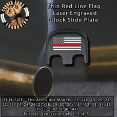 Thin Red Line Laser Engraved Glock Slide Plate