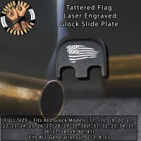 Tattered Flag Laser Engraved Glock Slide Plate