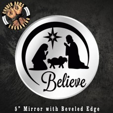 Custom Laser Engraved Mirror (Believe) Christmas Holiday Jesus Candle Holder Wall Decor Party Favor Gift