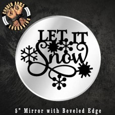 Custom Laser Engraved Mirror (Let It Snow) Christmas Holiday Jesus Candle Holder Wall Decor Party Favor Gift