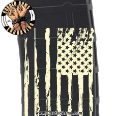 Large American Flag Tattered Engraved Custom Pmag