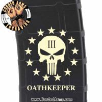 Oath Keeper Punisher 3% Engraved Custom Pmag