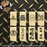 2nd Amendment Laser Engraved Brass  Money Clip