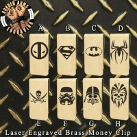 Characters & Logos Laser Engraved Brass  Money Clip