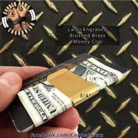 Brushed Brass Custom Laser Engraved Money Clip