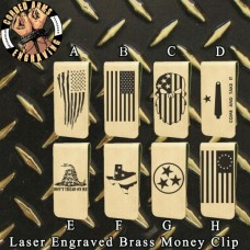 Flags Laser Engraved Brass  Money Clip