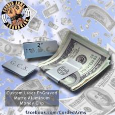 Brushed Aluminum Custom Laser Engraved Money Clip