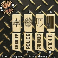 Law Enforcement Laser Engraved Brass  Money Clip