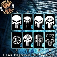 Punisher Collection Laser Engraved EDC  Money Clip Credit Card Wallet