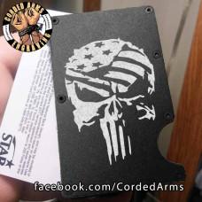 Punisher Stars and Bars Laser Engraved EDC  Money Clip Credit Card Wallet