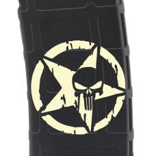 Punisher Star in Circle Laser Engraved Custom Pmag
